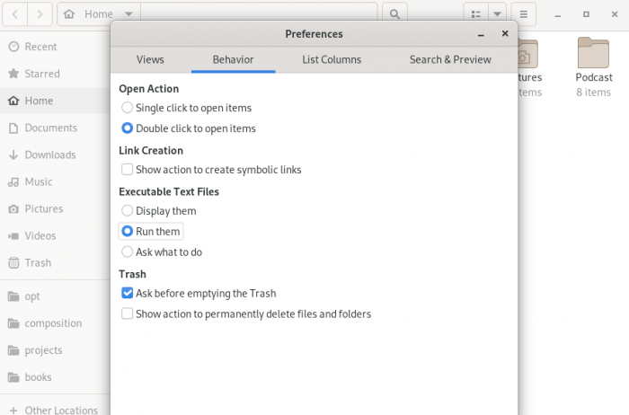 تغییر تنظیمات مربوط به رفتار سیستمعامل هنگام باز کردن فایلهای متن در لینوکس
