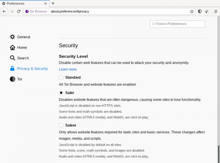 تنظیم سطح امنیتی در مرورگر تور